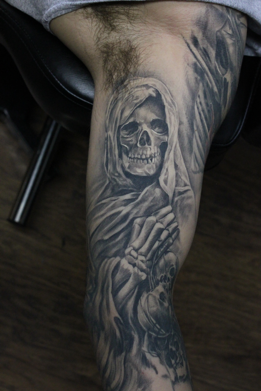 Healed Black And Grey Grim Reaper Sleeve By Capone Tattoos