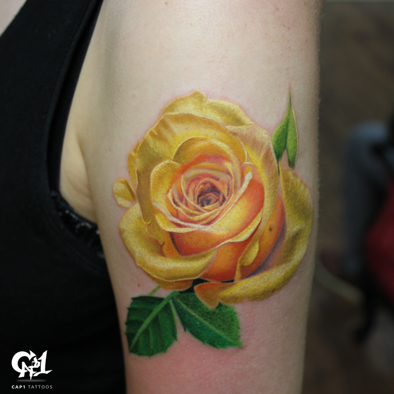 Realistic Color Rose Tattoo by Capone : Tattoos
