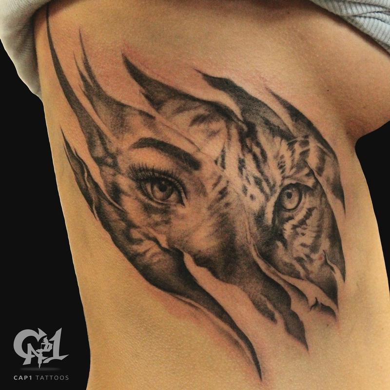 4b1b3e0cd Cap1 Tattoos : Tattoos : Nature : Tiger Rib Cage Skin Rips Tattoo