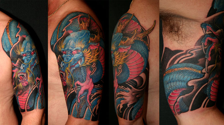 japanese half sleeve tattoos. dragon half sleeve tattoo.