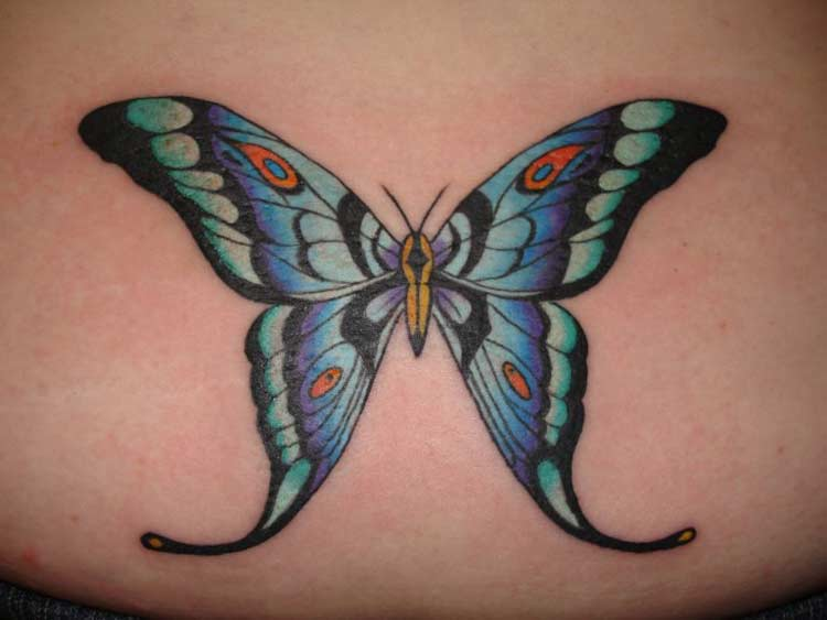 Christopher Allen Colorful butterfly tattoo