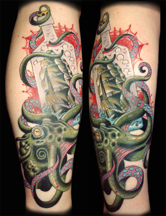 Orrin Hurley : Tattoos : Traditional American : Octopussy