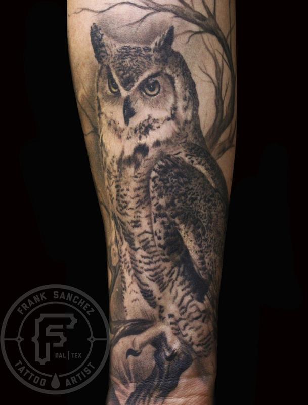 frank sanchez tattoos realistic owl sleeve. Black Bedroom Furniture Sets. Home Design Ideas