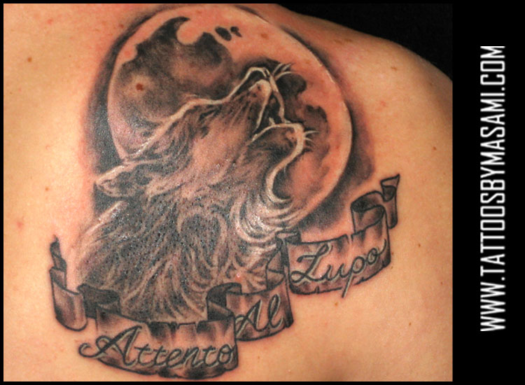 At Full Moon Wolf Howling The Tattoo