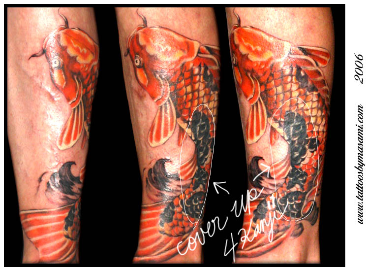 Koi fish cover up tattoos for Koi fish cover up