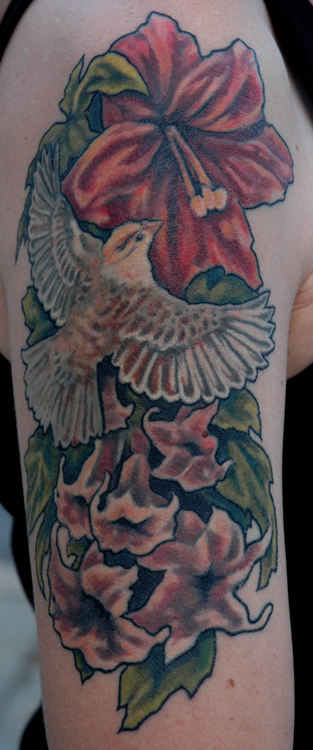 Sparrow And Flowers Tattoos