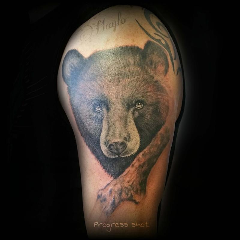 Lucky Bamboo Tattoo Tattoos Half Sleeve Progression Of Black Bear With Branch Piece Session One