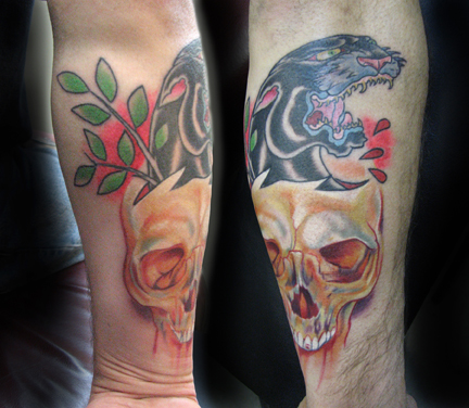 Mike Gutowski - traditional panther tattoo with skull
