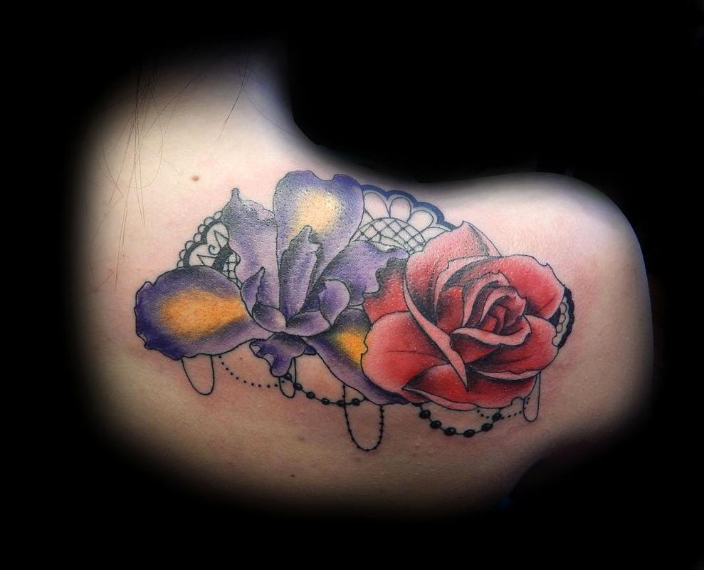 Lucky bamboo tattoo tattoos flower rose full color rose and justin hicks full color rose and iris with lace and beads izmirmasajfo