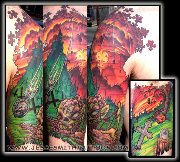 Tattoos · Jesse Smith. Zombie Half Sleeve