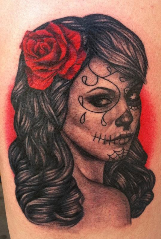 day of the dead by pepper tattoos. Black Bedroom Furniture Sets. Home Design Ideas