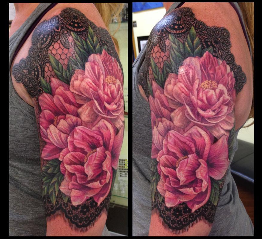 tattoos realistic tattoos half sleeve tattoos body part arm tattoosRealistic Peony Tattoo