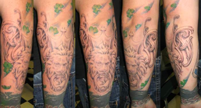 lion tattoo sleeve. tattoo sleeve in progress.