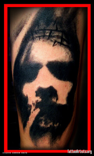 Comments: This is a Blackwork Portrait Tattoo by Darrin White. by