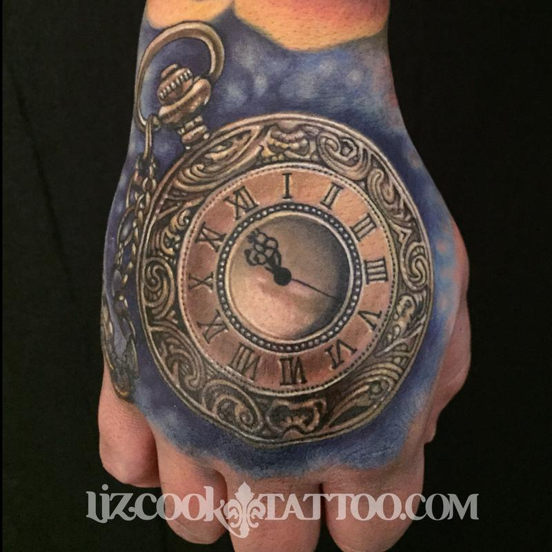 Rebel muse tattoo tattoos liz cook time piece on the for Time piece tattoos