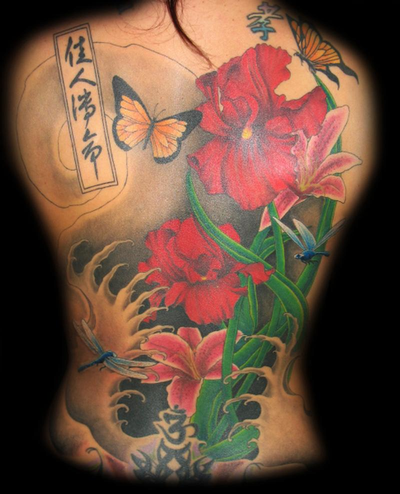Lucky Bamboo Tattoo : Tattoos : Color : Floral Back piece