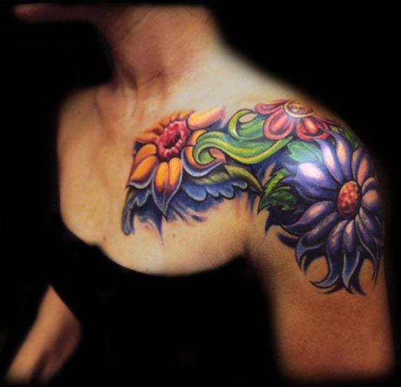 flowers tattoos on chest. Mike Cole - flower chest and