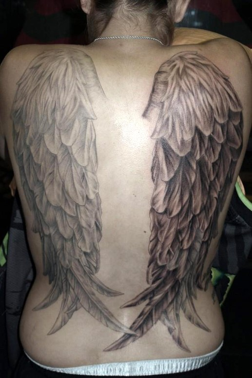 Full back angel wings tattoo by coniah timm one is healed one is fresh