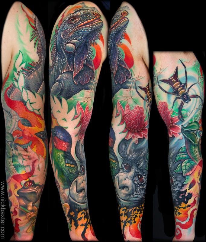 Rainforest tribute by nick baxter tattoos for Tattoo sleeves amazon