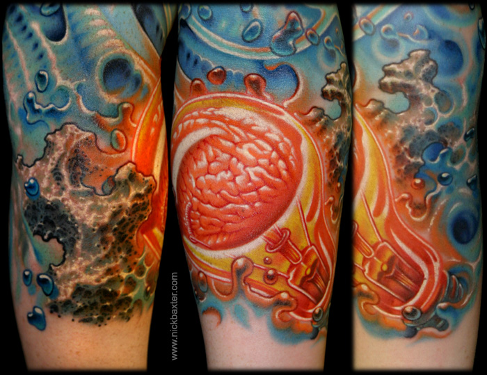 glowing inspiration sleeve by nick baxter tattoos