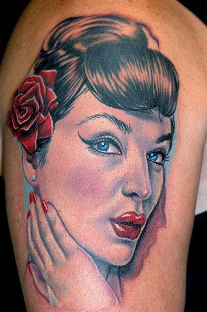 pinup tattoo. Nikko - Pin up portrait tattoo