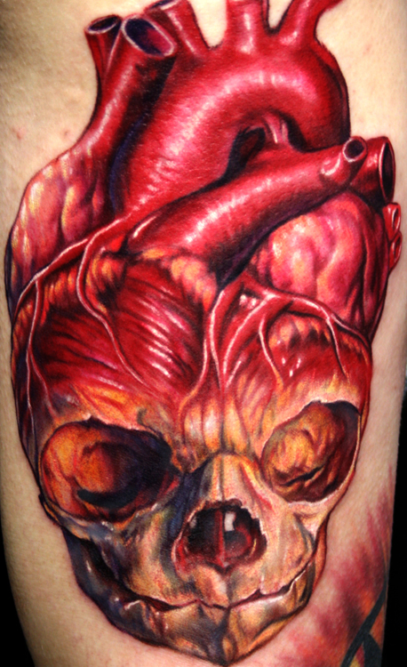 Skull Human Heart Tattoo
