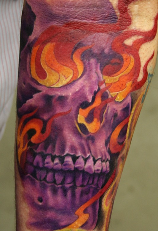 flaming skull tattoos. flaming skull