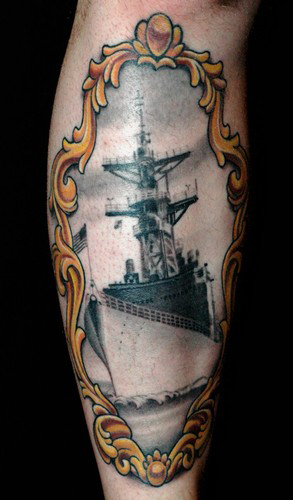 Looking for unique Military tattoos Tattoos? Battleship tattoo in a ...