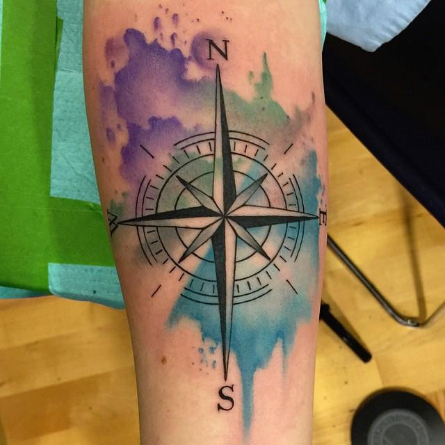 Abstract Watercolor Compass Tattoo by David Mushaney : Tattoos
