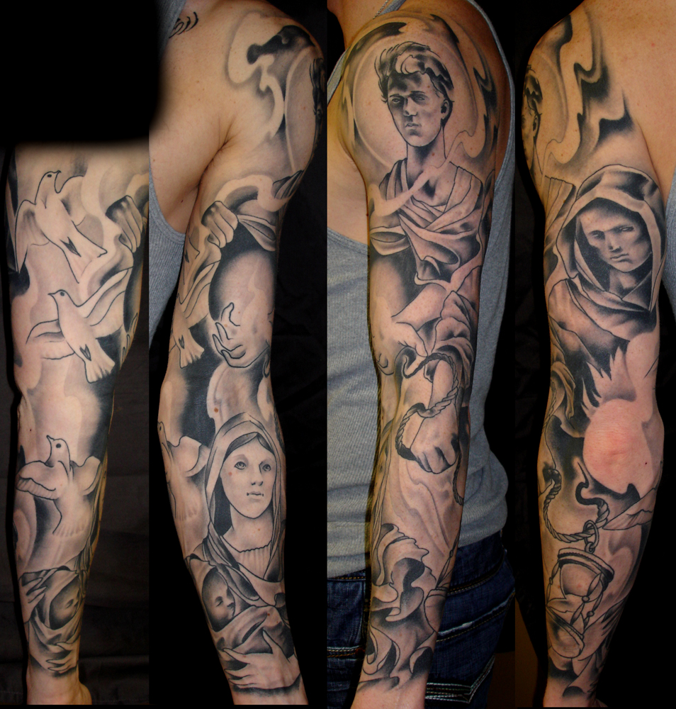 Guardian Angel Sleeve Tattoo Designs