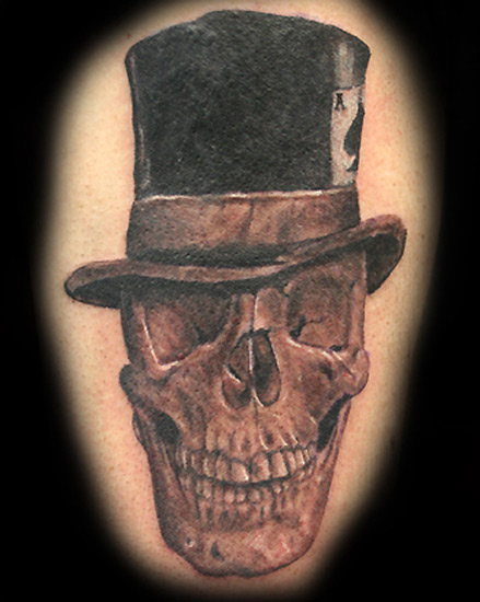 Tattoos. Skull Tattoos. Skull in Top Hat. Now viewing image 3 of 7 previous