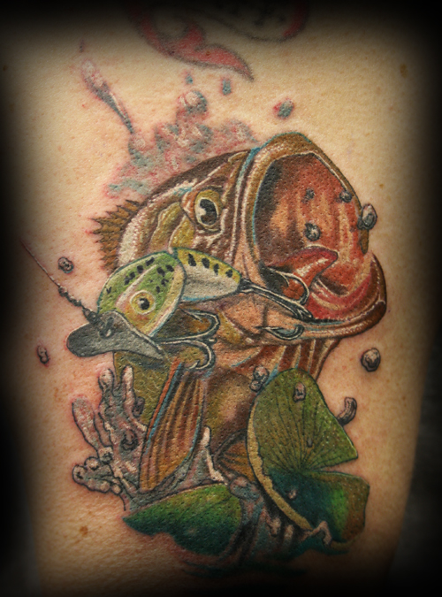 Bass Tattoo. Artist: Jesse Rix - (email) Placement: Arm Comments: Bass.