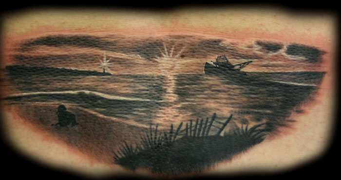 Tattoos. Tattoos Custom. ocean scene. Now viewing image 111 of 126 previous