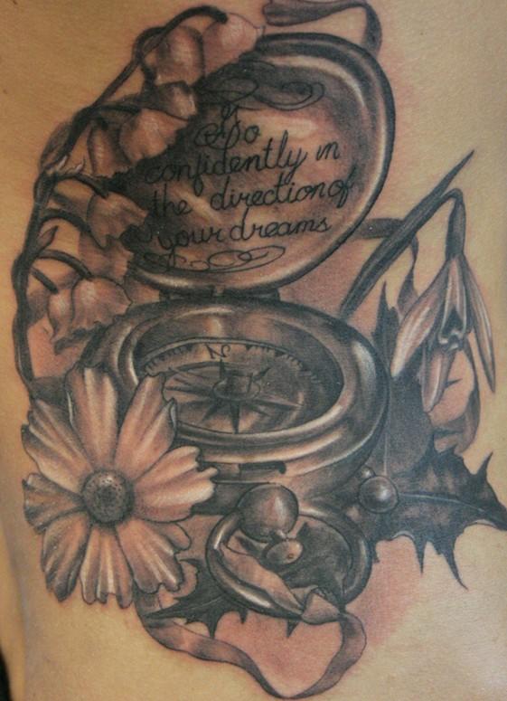 flowers tattoos black. Tattoos Black and Gray