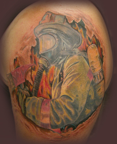 Keyword Galleries: Color Tattoos, Fire-fighters Tattoos, Realistic Tattoos
