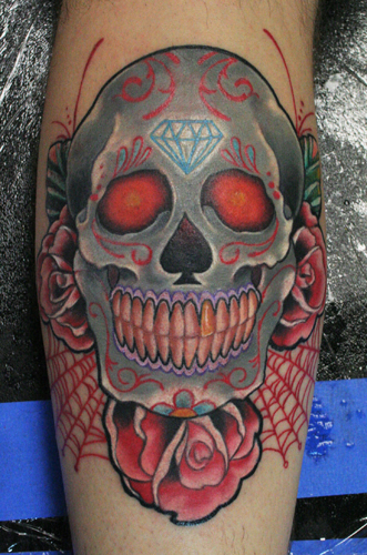 candy skull tattoo pictures. rose skull tattoo. Tattoos.