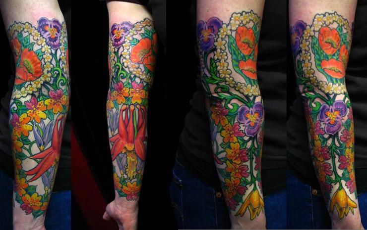 flower tattoo sleeve. Jeff Croci - Flowers Sleeve