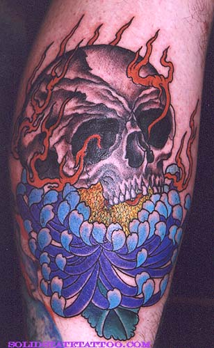 Chrysanthemum And Skull Tattoo