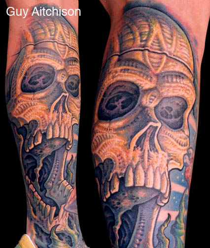 guy aitchison skull tattoo