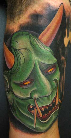 Tattoo of the day goes to Jon Von Glahn for this japanese hanya mask color
