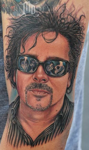 Tattoo of the day goes to Mike Devries for this Tim Burton tattoo.