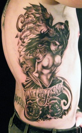Tattoo On Ribs For Men. quote tattoo on rib cage.