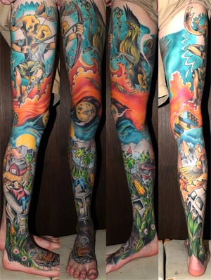 Full Leg Sleeve Color Tattoo