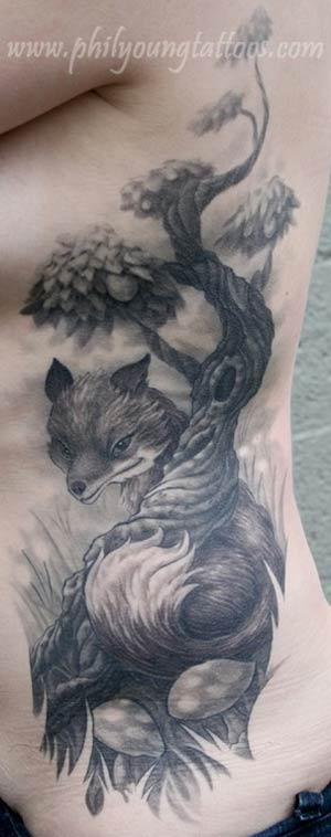 rib tattoo. Fox Rib Tattoo