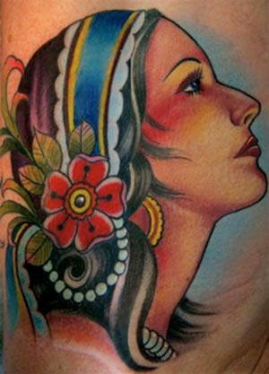 Tattoo of the day goes to Cory Norris for this gypsy head tattoo.