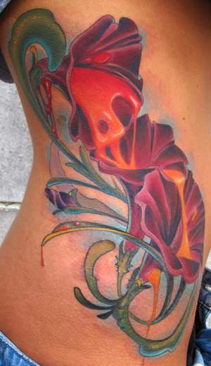 flower rib tattoos. Trippy Flower Rib Tattoo