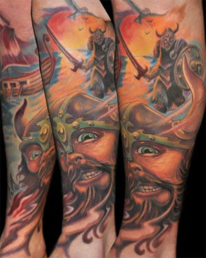 Tattoo of the day goes to Brandon Heffron for this viking tattoo .