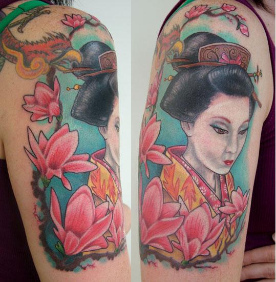 magnolia tree tattoo. geisha is a Magnolia tree.