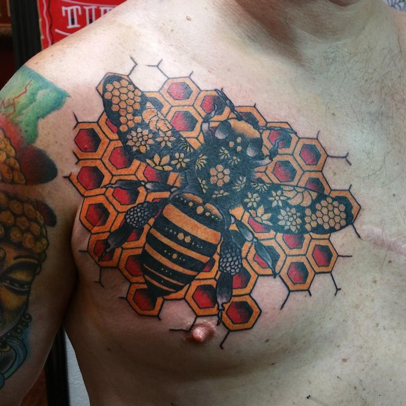 f2a26df32 Rebel Muse Tattoo : Tattoos : Back and Chest : Geometric Bee