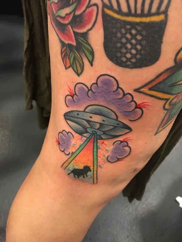 Ufo space ship by cody hennings tattoos for Texas bobs tattoos
